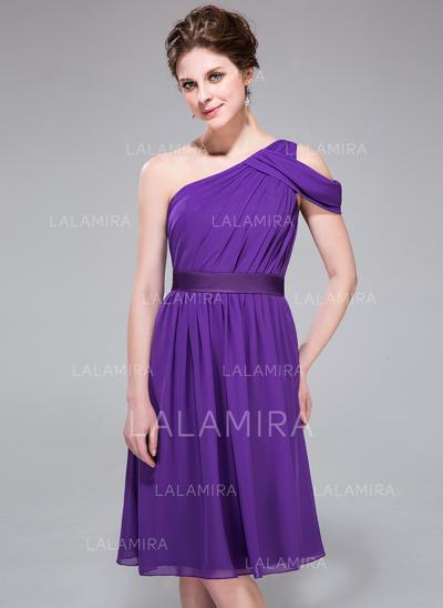 Knee-Length A-Line/Princess Sleeveless Chiffon Bridesmaid Dresses (007037298)