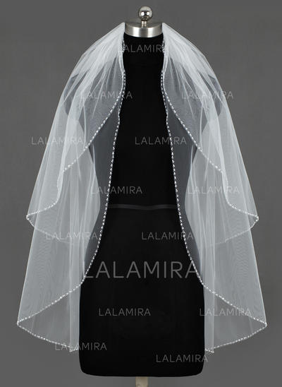 Fingertip Bridal Veils Tulle Two-tier Classic With Sequin Trim Edge Wedding Veils (006151269)
