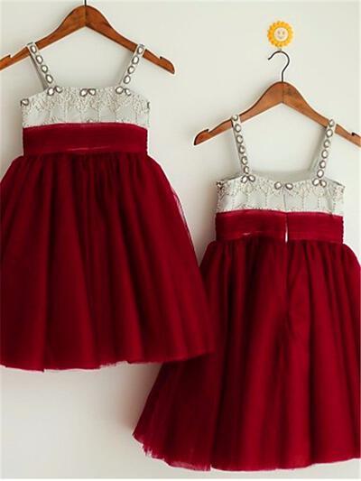 Square Neckline A-Line/Princess Flower Girl Dresses Tulle Beading Sleeveless Knee-length (010211908)