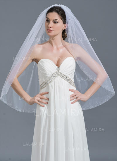Fingertip Bridal Veils Tulle One-tier Classic With Beaded Edge Wedding Veils (006152217)