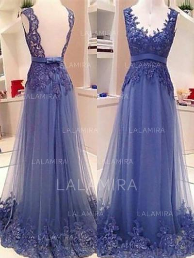 Tulle V-neck A-Line/Princess Beautiful Prom Dresses (018210311)