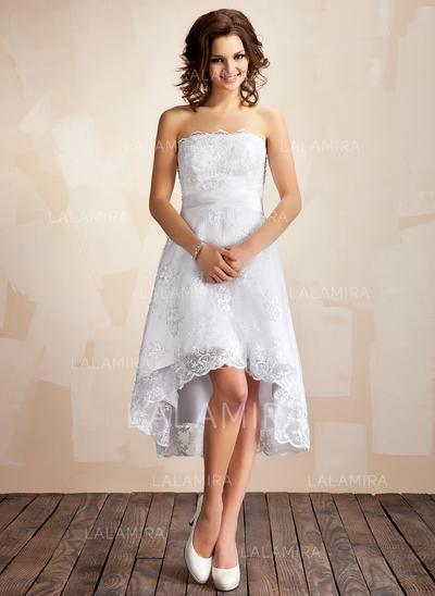 Forme Princesse Sans bretelle Traîne asymétrique Dentelle Robe de mariée (002001414)
