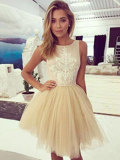 Apliques de Renda Vestidos princesa/ Formato A Curto/Mini Tule Vestidos de boas vindas (022216266)