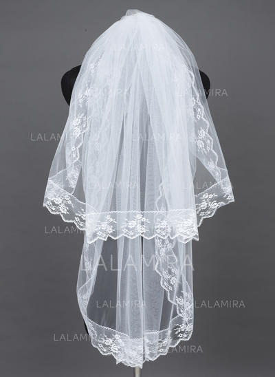 Fingertip Bridal Veils Tulle Two-tier Oval With Lace Applique Edge Wedding Veils (006151398)
