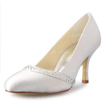 Women's Closed Toe Pumps Stiletto Heel Satin With Rhinestone Wedding Shoes (047204358)