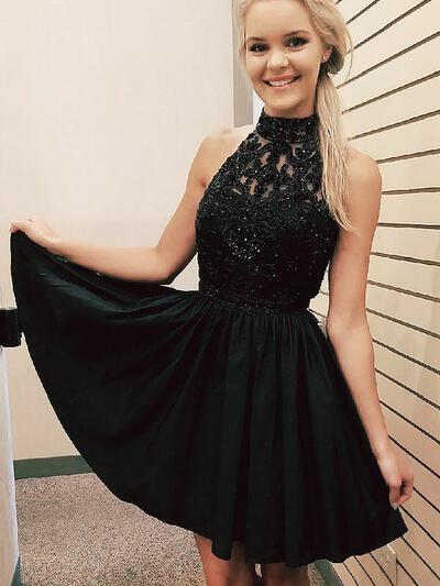 Cuello alto Corte A/Princesa Hermoso Gasa Baile de promoción (016217680)