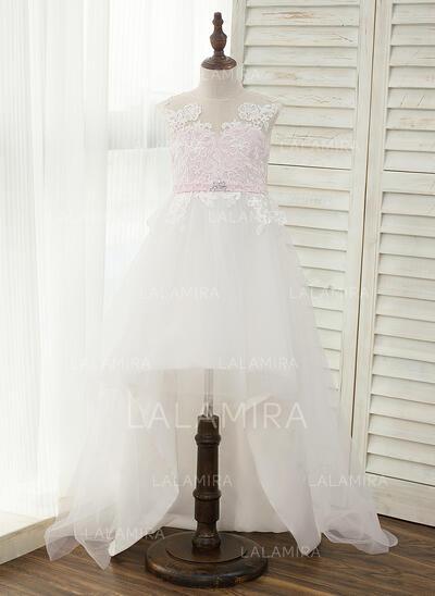 A-Line/Princess Asymmetrical Flower Girl Dress - Satin/Tulle Sleeveless Scoop Neck With Rhinestone (010141234)
