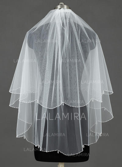 Fingertip Bridal Veils Tulle Two-tier Cascade With Beaded Edge Wedding Veils (006151347)