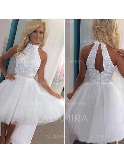 Stunning Tulle Homecoming Dresses A-Line/Princess Knee-Length High Neck Sleeveless (022212304)