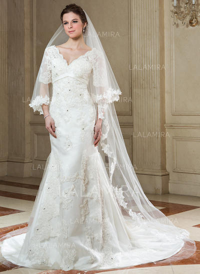 Cathedral Bridal Veils Tulle One-tier Drop Veil With Lace Applique Edge Wedding Veils (006151608)