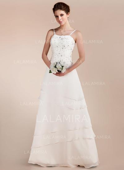 Hasta el suelo Sin mangas Corte A/Princesa - Gasa Satén Vestidos de novia (002213212)