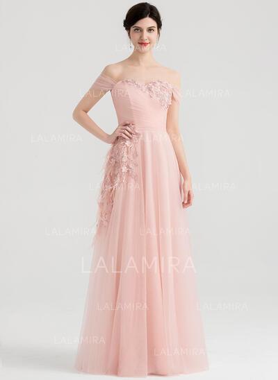 Forme Princesse Hors-la-épaule Longueur ras du sol Tulle Robe de soirée avec Plissé Feather Fleur(s) (017153651)