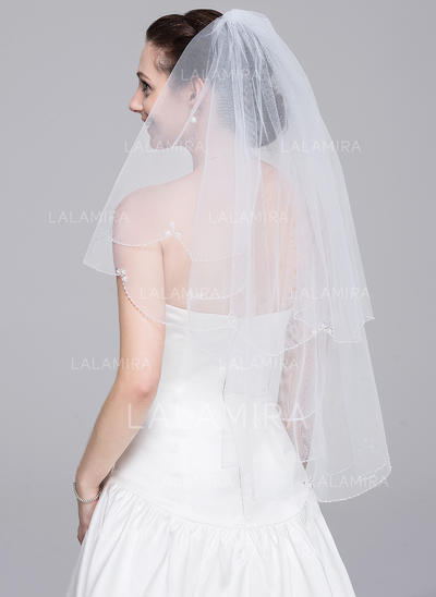 Elbow Bridal Veils Tulle Two-tier Classic With Beaded Edge Wedding Veils (006151847)