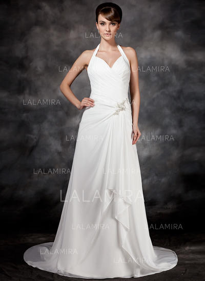 A-Line/Princess Chiffon Sleeveless Halter Court Train Wedding Dresses (002001693)