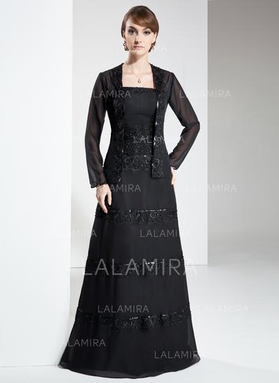 Forme Princesse Sans bretelle Mousseline Renversant Robes mère de la mariée (008213109)