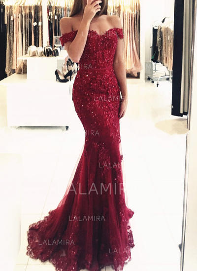 Tulle Lace Trumpet/Mermaid Magnificent Evening Dresses Sleeveless (017146219)