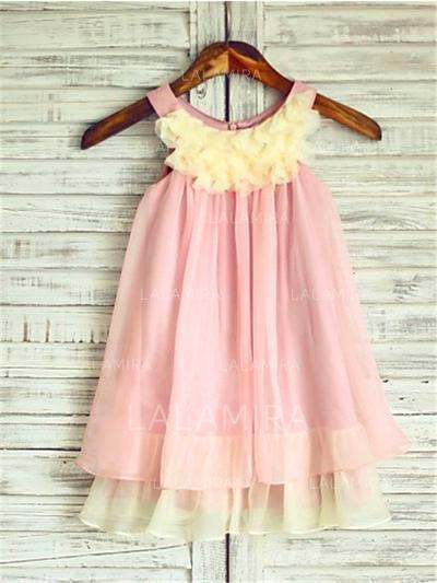 Scoop Neck A-Line/Princess Flower Girl Dresses Chiffon Ruffles Sleeveless Knee-length (010211949)