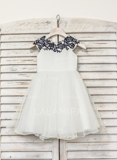 Stunning Scoop Neck A-Line/Princess Flower Girl Dresses Knee-length Organza Sleeveless (010210137)