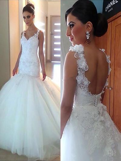 Beautiful Lace Beading Appliques Trumpet/Mermaid With Tulle Wedding Dresses (002147982)