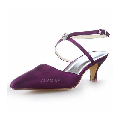 Women's Closed Toe Pumps Chunky Heel Satin With Rhinestone Wedding Shoes (047205168)
