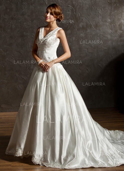Simple Satin Wedding Dresses With Regular Straps Embroidered Beading Sequins (002011506)