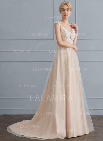 A-Line/Princess Scoop Neck Sweep Train Tulle Wedding Dress (002124283)