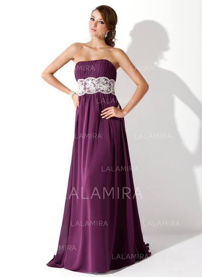Empire Sleeveless Ruffle Lace Beading Chiffon Prom Dresses (018005060)