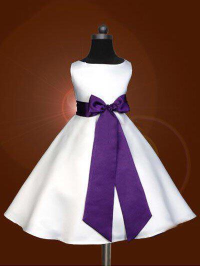 Escote redondo Corte A/Princesa Vestidos para niña de arras Satén Fajas/Lazo(s) Sin mangas Hasta la tibia (010211858)