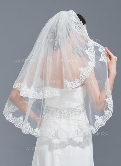 Codo velos nupciales Tul Dos capas Estilo clásico con Con Aplicación de encaje Velos de novia (006115467)
