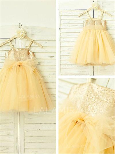 Square Neckline A-Line/Princess Flower Girl Dresses Tulle/Sequined Sequins Sleeveless Knee-length (010212024)