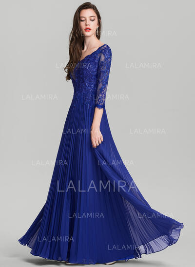 A-Line/Princess V-neck Floor-Length Chiffon Evening Dress With Pleated (017126605)