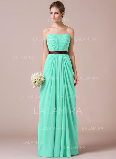 Sheath/Column Sweetheart Floor-Length Chiffon Bridesmaid Dress With Ruffle Sash (007057742)