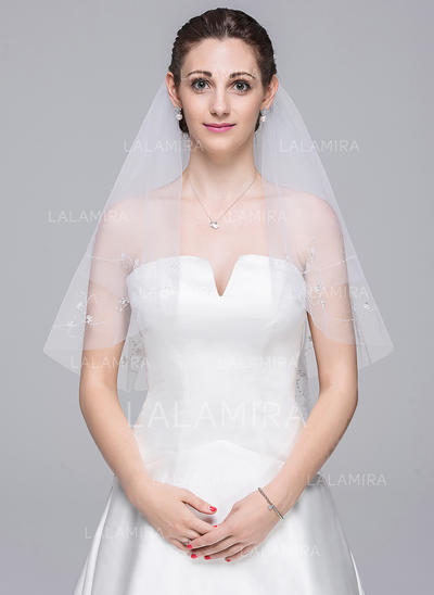 Elbow Bridal Veils Tulle Two-tier Classic With Beaded Edge Wedding Veils (006151845)