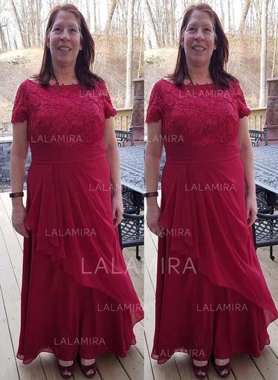 Forme Princesse Col rond Mousseline Le plus récent Robes mère de la mariée (008212785)
