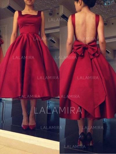 Satin Sleeveless Tea-Length Square Neckline Homecoming Dresses (022212278)