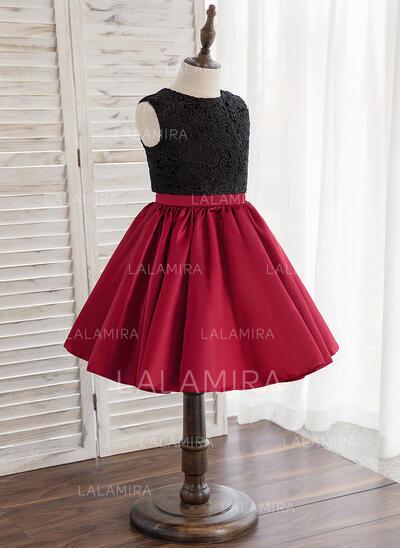 Forme Princesse Longueur genou Robes à Fleurs pour Filles - Tulle/Dentelle Sans manches Col rond avec Trou noir (010148825)