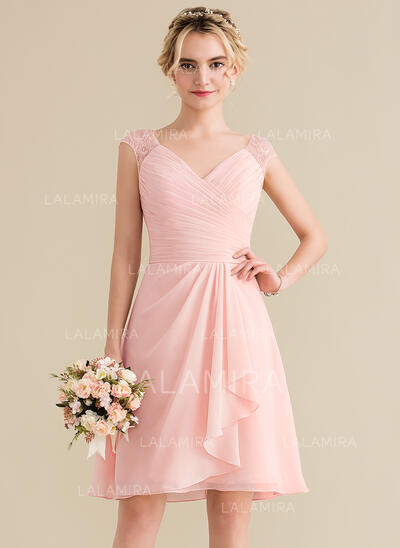 A-Line V-neck Knee-Length Chiffon Lace Bridesmaid Dress With Cascading Ruffles (007144739)