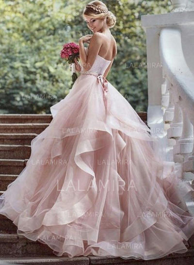 Beading Cascading Ruffles Sleeveless Ball-Gown - Organza Wedding Dresses (002144885)