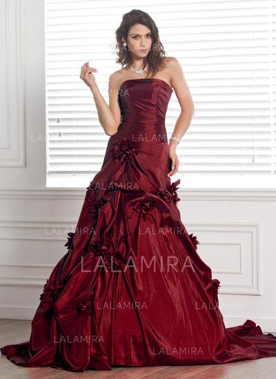 Tafetán Sin tirantes Sin mangas - Moda Vestidos de novia (002000481)