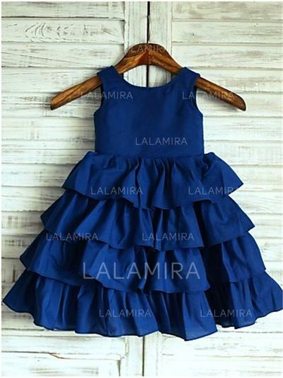 Escote redondo Corte A/Princesa Vestidos para niña de arras Satén Volantes Sin mangas Hasta la rodilla (010212025)