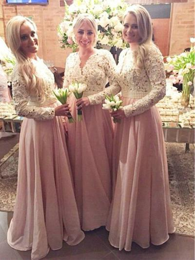 V-neck General Plus A-Line/Princess Chiffon Lace Long Sleeves Bridesmaid Dresses (007144995)