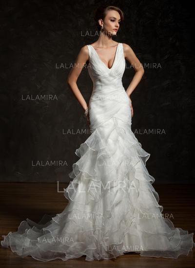 Renversant Satiné Organza Robes de mariée avec Bretelles classiques Robe à volants (002011678)