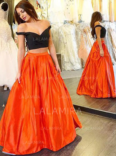 Simple Ball-Gown Sleeveless Satin Prom Dresses (018145998)