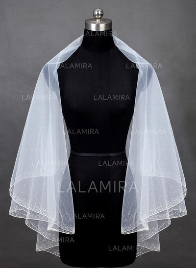 Fingertip Bridal Veils Tulle Two-tier Classic With Pencil Edge Wedding Veils (006151856)
