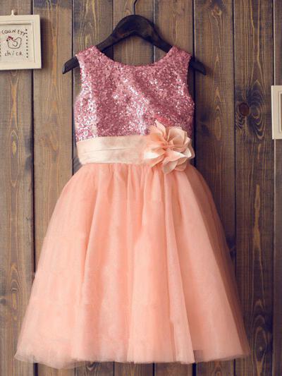 Escote redondo Corte A/Princesa Vestidos para niña de arras Tul/Con lentejuelas Flores Sin mangas Hasta la tibia (010211976)