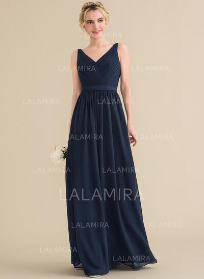 A-Line/Princess V-neck Floor-Length Chiffon Bridesmaid Dress With Ruffle Bow(s) (007144768)