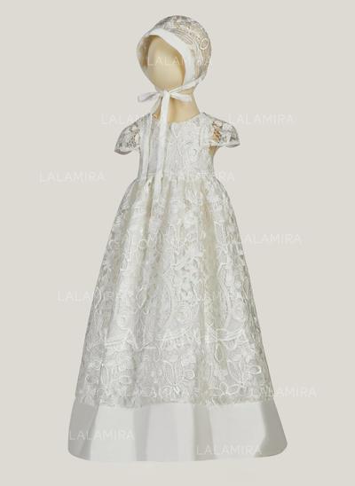 Satén Escote redondo Encaje Vestidos de bautizo para bebés con Manga corta (2001216826)