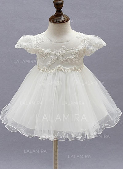 Tulle Scoop Neck Beading Flower(s) Baby Girl's Christening Gowns With Short Sleeves (2001216844)