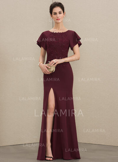 Sheath/Column Scoop Neck Floor-Length Lace Stretch Crepe Mother of the Bride Dress With Split Front (008179217)