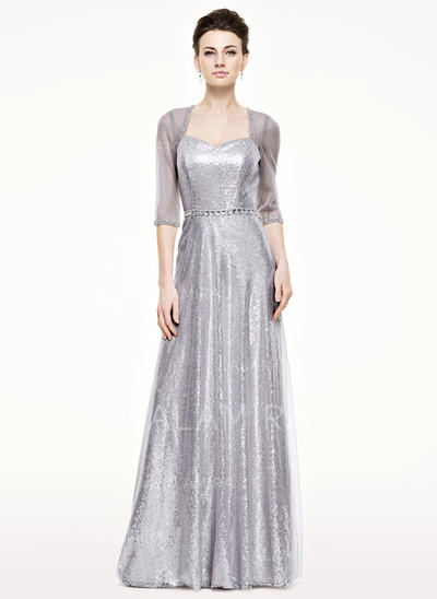 A-Line/Princess Tulle Sequined 1/2 Sleeves Sweetheart Floor-Length Zipper Up Mother of the Bride Dresses (008062534)